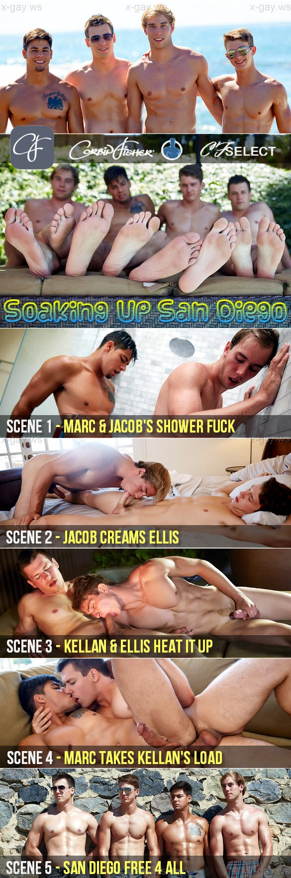 CorbinFisher – CFSelect – Soaking Up San Diego, Bareback (5 scenes)
