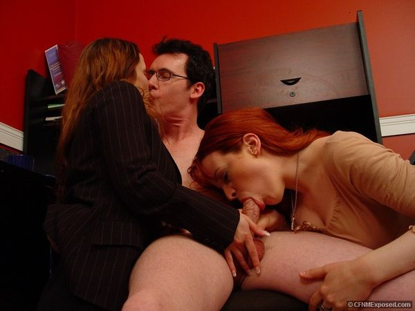 CFNMExposed - Caroline, Catherine - Brunette And Redhead Share Cocksucking