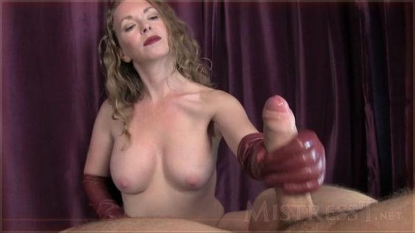 MistressT. - Mistress T - Burgundy Leather Glove JOI