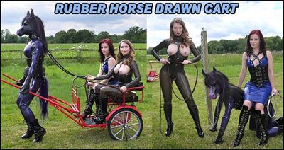 The English Mansion - Mistress Lola Ruin, Mistress T - Rubber Horse Drawn Cart