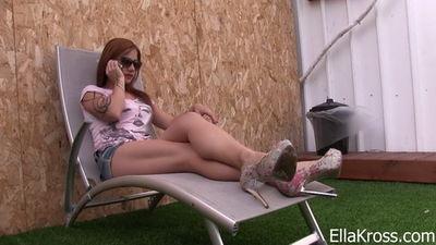 Ella Kross - Slave Worships My Feet Outside!