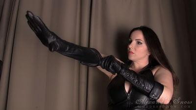 Goddess Alexandra Snow - Leather Glove Test