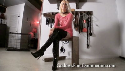 Goddess Foot Domination - Goddess Mila Mila's Boot Sweat Slave POV Goddess Mila