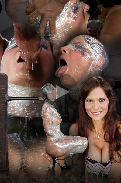(30.10.2014) Sexy Syren De Mer saran wrapped, mummified and shackled, services two hard cocks, epic deepthroat
