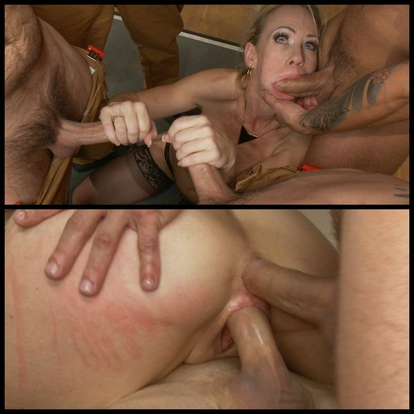 (19.11.2014) Five thick fire fighters drench Simone Sonay's hot MILF cunt