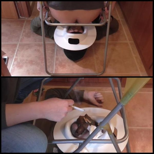 Big pile of shit over his nasty face – Femdom Scat, Shitting, Toilet slave
