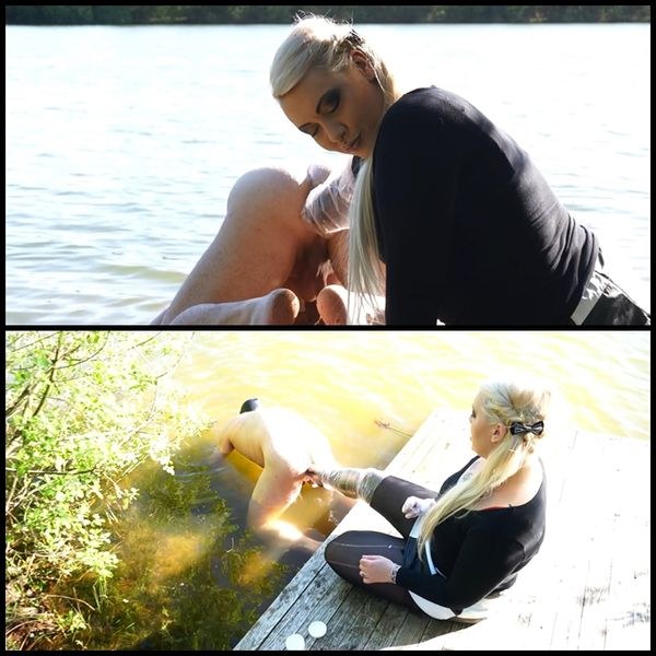 (07.06.2015) Anal treatment on the lake – Male Fisting, Female Domination