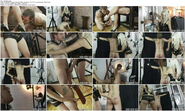 AmberDungeon - Slave spanked standing with tease