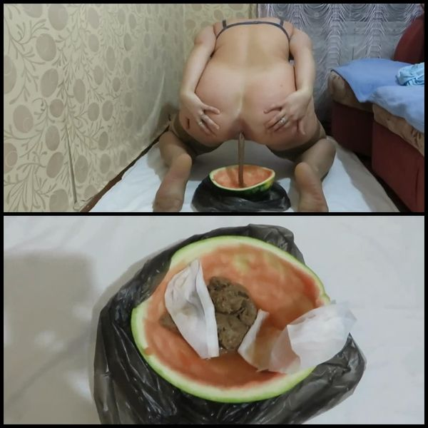 Girl shit in the watermelon rind