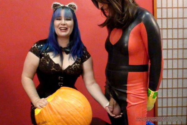 AliceInBondageLand - Pumpkin Fucker Halloween Humiliation - Chastity Training FemDom Threesome part 1-2