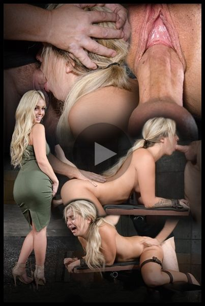 (11.12.2015) Bubbly blonde Madelyn Monroe bound doggy style and taken from both ends by big dick