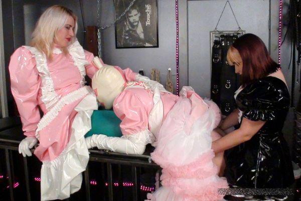 AliceInBondageLand - Introducing Mistress Evadne - Airtight PVC Sissy Maid Strap-On Threesome