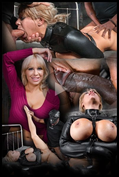 (27.01.2016) Big breasted Alyssa Lynn takes on two cocks while bound in a leather straightjacket