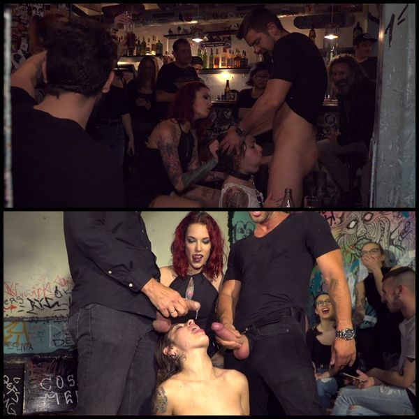 (17.06.2016) Perky Teen Alexa Nasha is Tripple Teamed in a Crowded Pub