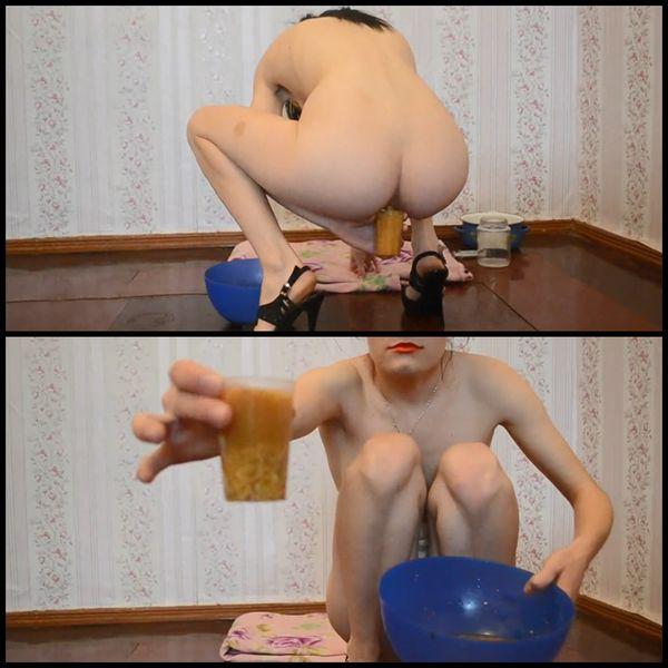 Milk enema in a bowl