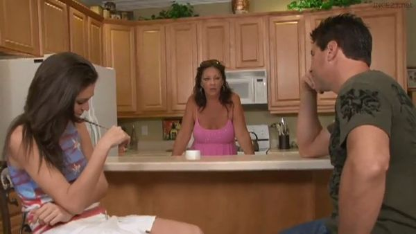 Beautiful Monica Sexxxton gives her dad a blowjob while mom talks!